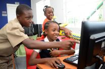 Youth using the internet cafe