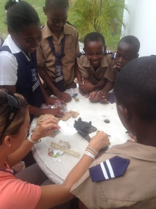 Students learning about what constitutes litter